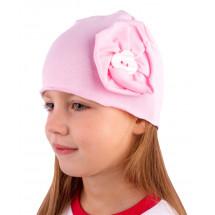 Шапка весенняя светло-розовая с цветком и пуговкой
